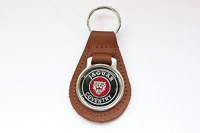 Jaguar Coventry Brown Leather Keyring, Key Chain, Key Fob