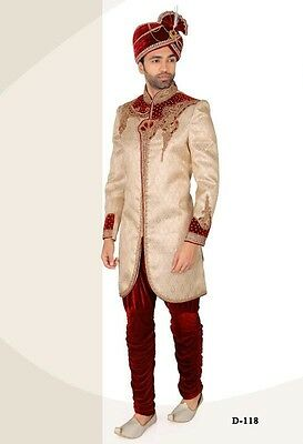 Traditional Designer Ethnic Indian Men IndoWestern Wedding Groom Sherwani UK K 4