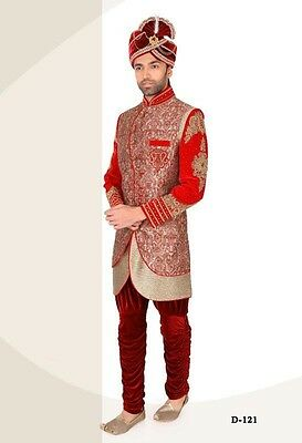 Traditional Designer Ethnic Indian Men IndoWestern Wedding Groom Sherwani UK K 5