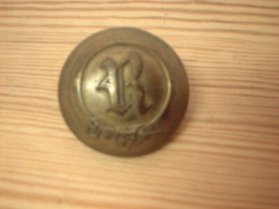 Large Antique  Livery Button - R- In Garter