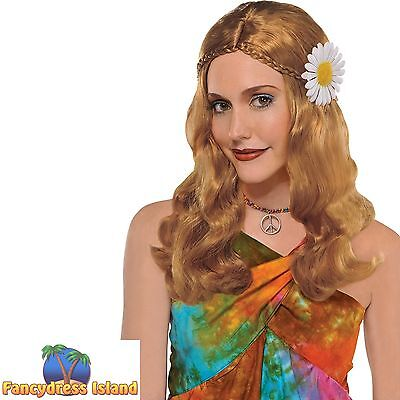 BLONDE HIPPIE WIG PLAIT & FLOWER 60'S 70'S WIG ladies womens fancy dress costume