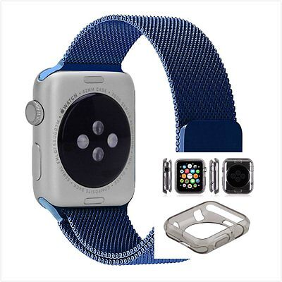 Blue Milanese Metal Band Strap For Apple Watch 38mm Clear Black Case