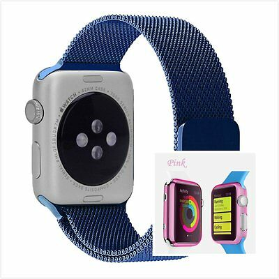 Blue Milanese Metal Band Strap For Apple Watch 42mm Clear Pink Case