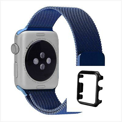 Blue Milanese Stainless Metal Band Strap For Apple Watch 42mm Black Case