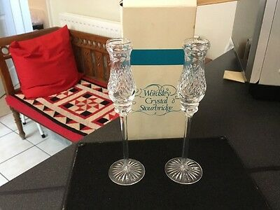 Pair Boxed Wordsley Stourbridge Crystal Cut Glass Tall Decorative Candlesticks