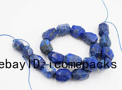 "Lapis Lazuli baroque faceted 15*20mm beads 15"" nature  blue wholesale gift"