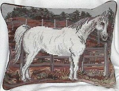 Decorative Pillow Needlepoint GRAY HORSE Rectangle Pillow CLEARANCE SALE