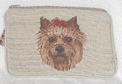 NP cosmetic YORKIE YORKSHIRE TERRIER Needlepoint Cosmetic Bag RETIRED
