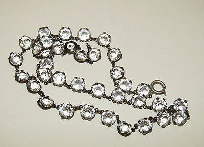 Brilliant, Victorian, Sterling Silver Riviere Necklace With Rock Crystal Gems