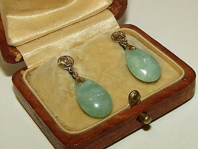 Elegant, Art Deco, Chinese 9 Ct Gold Earrings With Natural Jade Gems
