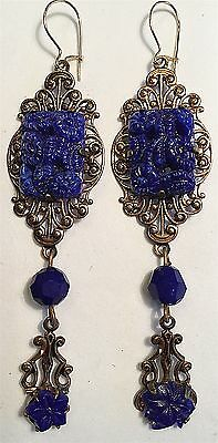 Vintage Rare Carved Lapis Flower Glass Drop Earrings Wow! Blue