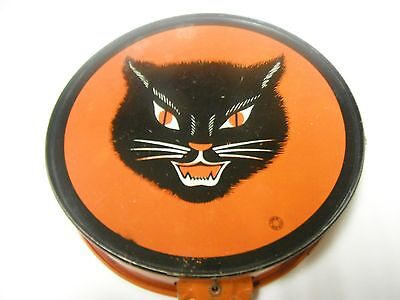 VINTAGE HALLOWEEN BLACK CAT TOY COHN TAMBOURINE Free Shipping