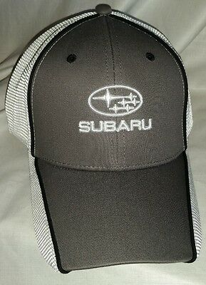 #396 Sample Subaru Gray W/White Mesh Back Flex Fit Fits Most Hat NWOT