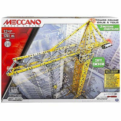 Meccano Tower Crane Model Set 1,682 Parts & Tools to Build a Fully Working Crane