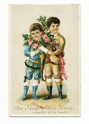 NIAGARA GLOSS STARCH Laundry Trade Card 1880's Two Little Boys