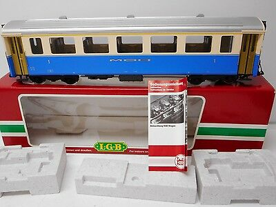 LGB  35670 Passenger Coach Blue/Cream with Metal Wheels Lighted Used G Scale