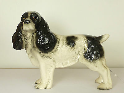VINTAGE MELBA WARE LARGE BLACK & WHITE SPANIEL DOG FIGURINE 17.5cm Tall