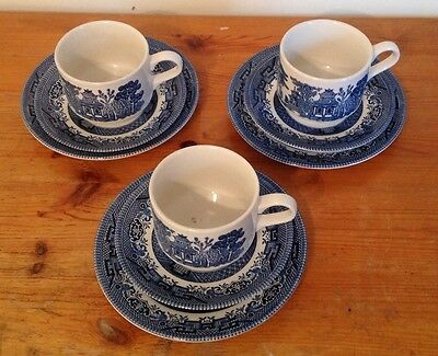 3 x Churchill Teaset Trios Willow Design Blue And White (9 Pieces In Total) VGC