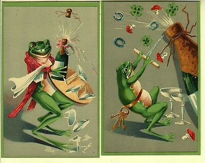Two Cards - Artist Drawn Frogs and Champagne