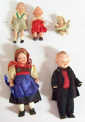 Lot of 5 Vintage Small Celluloid & More Dolls