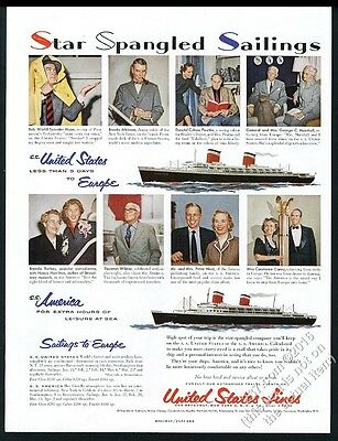 1954 SS United States and America ship Bob Hope Thornton Wilder photo print ad