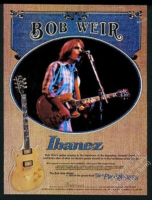 1977 Bob Weir photo Ibanez electric guitar Grateful Dead vintage print ad