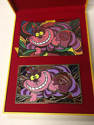 Disney HK Acme HotArt Alice's CHESHIRE CAT Jumbo Artist Pin & Litho LE 100