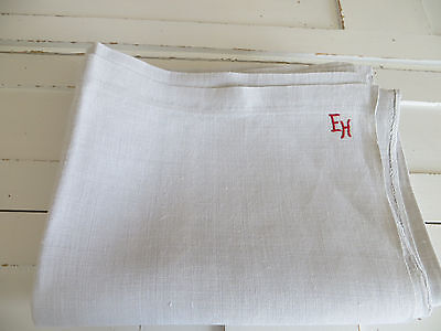 "Antique Handwoven   Linen Sheet   Fabric Denmark 1880  52 "" by 80 "" Monogram EH"