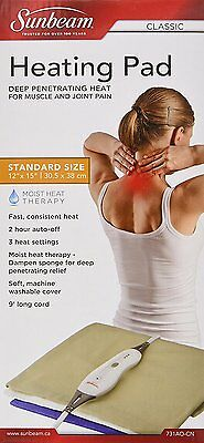 Sunbeam Standard Moist Heating Pad with Auto Off, Beige with 3 Heat Settings