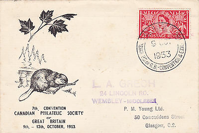 Gb : Canadian Philatelic Society Convention 'beaver & Maple Leaf' Cover (1953)