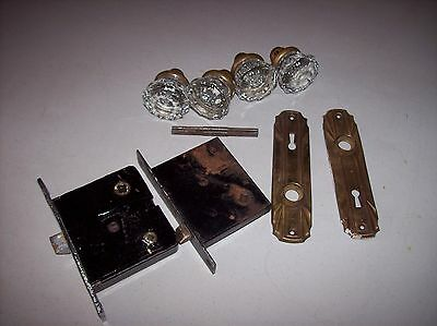 Old Vintage Door Knobs Glass Or Crystal, Two Sets & Some Hardware