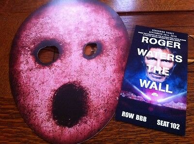 ROGER WATERS THE WALL NYC  PREMIERE Movie TICKET + Prop MASK Tour US  PINK FLOYD