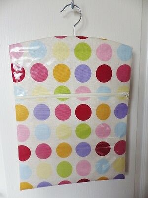 "Hand Made OILCLOTH Peg/Hanging Storage Bag Zipped 12½"" x 16"" PASTEL SPOT"