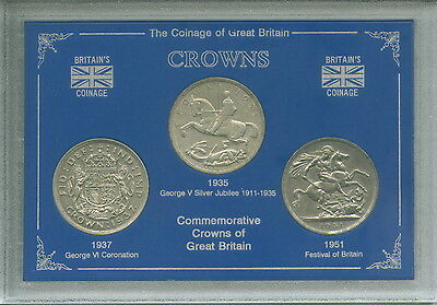 Commemorative Crown Display 1935 1937 1951 Coin Collector Collecting Gift Set
