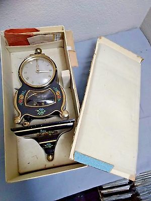 Vintage Schatz Barock 400 day clock Black with flower designs Box and Papers