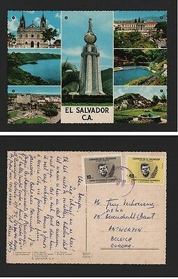 POSTCARD EL SALVADOR year 1968 stamps JOHN KENNEDY z1