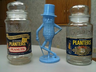 Rare Vintage MR PEANUT BANK & 2 PLANTERS PEANUTS DECANTERS 75th ANNV and WHEAT