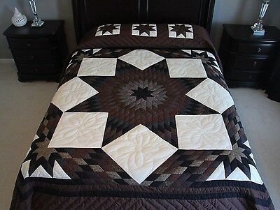 NEW~ AMISH QUILT HANDMADE PATCHWORK FROM LANCASTER PA BROKEN DOUBLE STAR 105x116