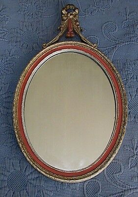 Antique Victorian Oval Glass Mirror with Cast Iron Cresting, E.J.S. Mfg. Co., NY