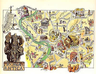 Vintage ROME ITALY Map Picture Map of Rome Artistic Pictorial Map Fra 3814