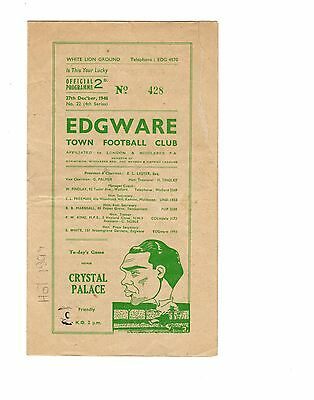 Edgware Town v Crystal Palace 27.12.1948 Friendly