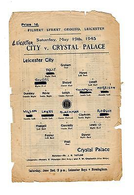 Leicester City v Crystal Palace 19.5.1945 Friendly