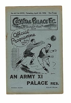 Crystal Palace v Army XI 4.4.1936 Friendly