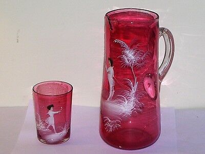Cranberry Glass Mary Gregory Tankard Water Pitcher Boy & Matching Tumbler Girl