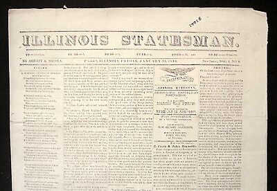 Rare 1840 ILLINOIS STATESMAN Early PARIS IL Edgar County NEWSPAPER
