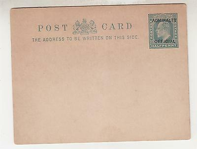 GREAT BRITAIN, ADMIRALTY OFFICE, 1903 Postal Card, KEVII 1/2d. Green, unused.