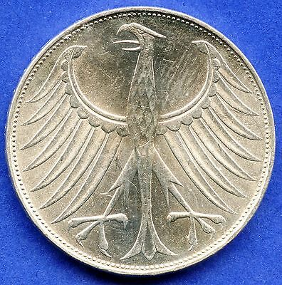 1971 'G' Germany 5 Mark Silver Coin (11.2 Grams .625 Silver)