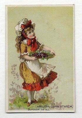 NIAGARA CORN STARCH Trade Card 1880's Pretty Young Girl with Berries