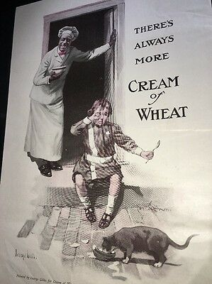 Cream Of Wheat Ad Rastus  Black Man Memorabilia 1920 Child & Cat   Brewer Art