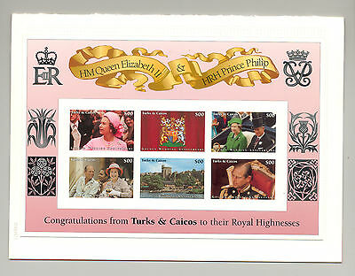 Turks & Caicos 1997 Queen Elizabeth M/S of 6 & 1v S/S Chromalin Proofs in Folder